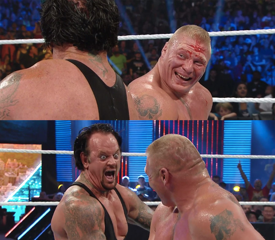 Brock and Taker laugh it up at SummerSlam 2015