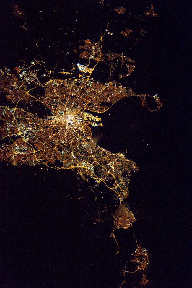 Dublin at night, by NASA